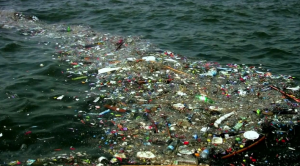 a line of refuse in the ocean