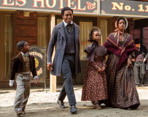 The Look of Freedom Alonzo (Cameron Zeigler), Solomon (Chiwetel Ejiofor),  Margaret (Quvanzhané Wallis), and Anne (Kelsey Scott) Northup in New York