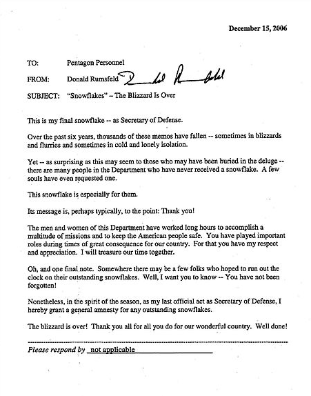 The Infamous Rumsfeld Snowflake