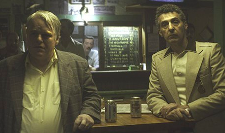 Mickey (Philip Seymour Hoffman) and Bird (John Turturro) in contemplation