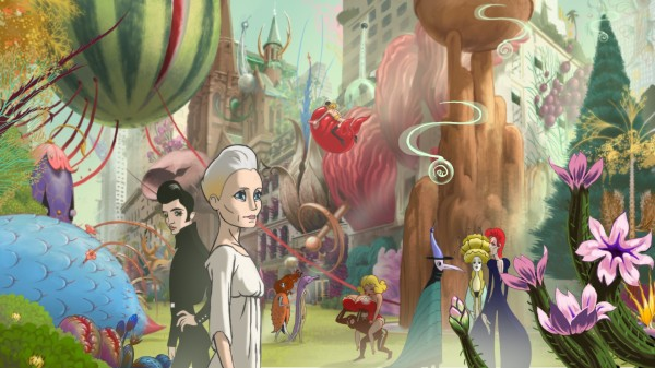 Robin Wright animated  in her psychedelic world.