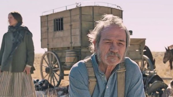 Mary Bee Cuddy (Hilary Swank) and George Briggs, The Homesman (Tommy Lee Jones)