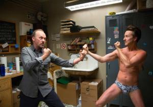 Riggan and Mike (Ed Norton) disagree backstage