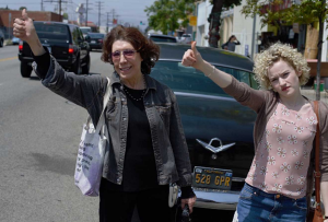 Grandma and Jade (Julia Garner) take to the road after car break down